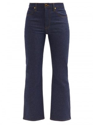 Matchesfashion Khaite - Vivian Flared Cropped Jeans - Womens - Indigo