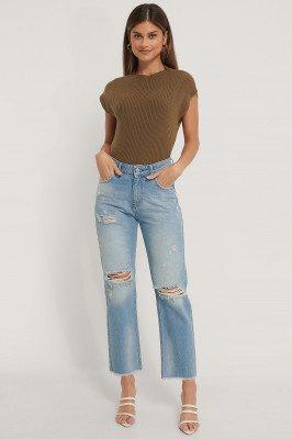NA-KD NA-KD Rechte Versleten Jeans Met Hoge Taille - Blue