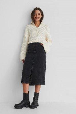 Mango MANGO Bay Denim Skirt - Black