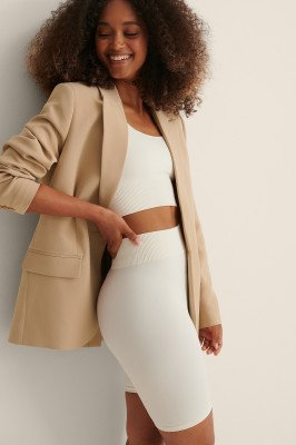 Curated Styles Curated Styles Voorzak Oversized Blazer - Beige