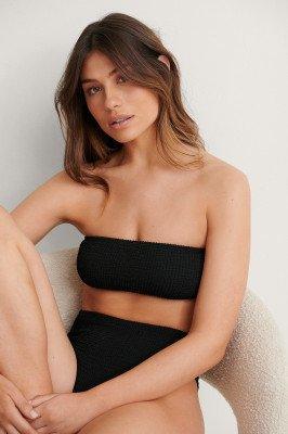 NA-KD Swimwear NA-KD Swimwear Smocked Bandeau Bikini Top - Black