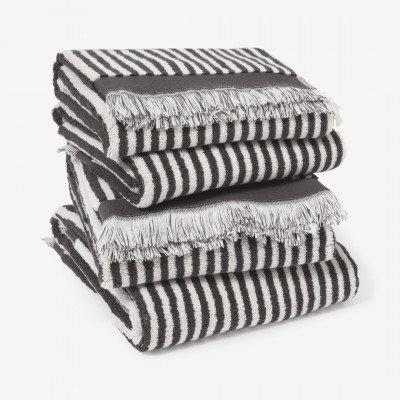 MADE.COM Kees set van 4 handdoeken, 100% katoen, graffietgrijs