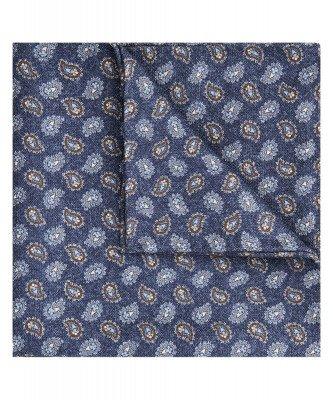 Profuomo Profuomo heren navy zijden print pochet