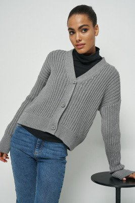 nu-in 100% Recycled Ribbed Cropped Cardigan / L / Grey