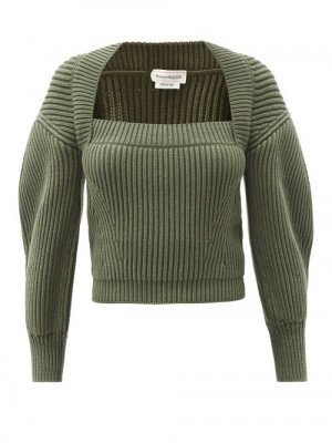 Matchesfashion Alexander Mcqueen - Square-neck Ribbed Cotton Sweater - Womens - Green