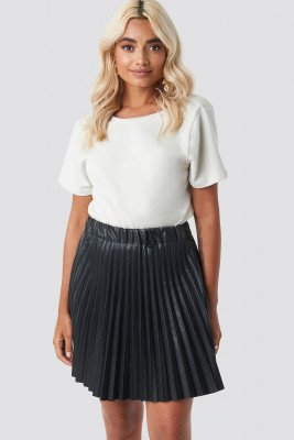 NA-KD Party Faux Leather Pleated Mini Skirt - Black