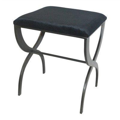 Firawonen.nl PTMD laila zwart velvet stoel met zwart ijzeren