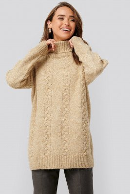 NA-KD NA-KD Cable Knitted Long Sweater - Beige