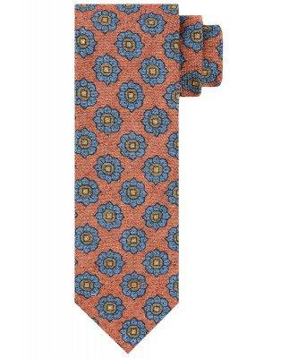 Profuomo Profuomo heren oranje bloemenprint stropdas