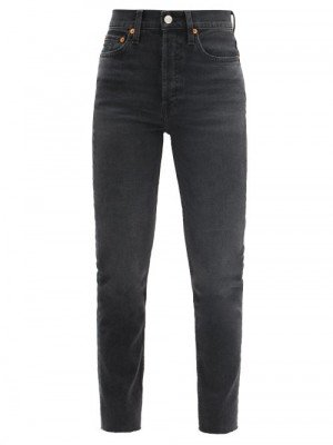 Matchesfashion Re/Done - 90s High-rise Slim-leg Cropped Jeans - Womens - Black