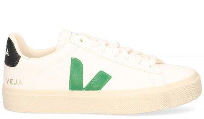 VEJA VEJA Campo Chromefree Leather Wit/Groen/Zwart Damessneakers