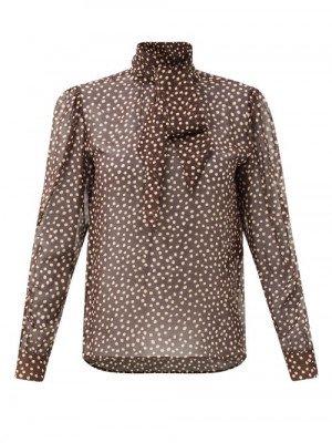 Matchesfashion Saint Laurent - Pussy-bow Polka-dot Silk-chiffon Blouse - Womens - Brown Multi