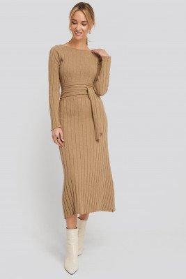 NA-KD NA-KD Recycled Ribbed Knit Midi Skirt - Beige