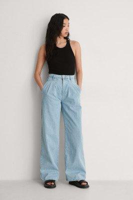 Trendyol Trendyol Geplooid Jeans Met Hoge Taille - Blue