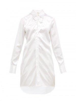 Matchesfashion Bottega Veneta - Gathered Satin Longline Shirt - Womens - White