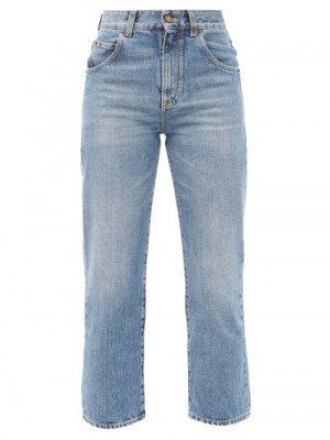 Saint Laurent - High-rise Cropped-leg Jeans - Womens - Denim