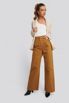 NA-KD Trend NA-KD Trend Wide Leg High Waisted Jeans - Brown