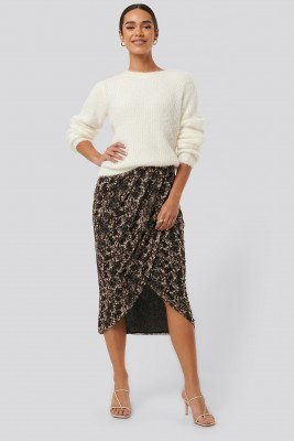 NA-KD Trend NA-KD Trend Printed Overlap Mesh Skirt - Brown