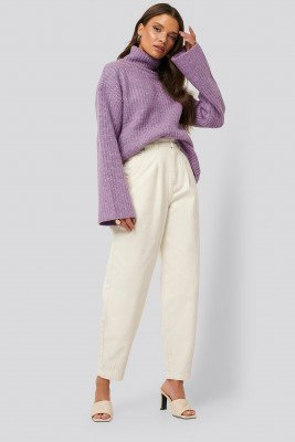 NA-KD NA-KD Front Dart Slouchy Jeans - Offwhite