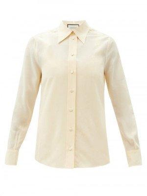 Matchesfashion Gucci - Matte Silk-crepe Blouse - Womens - Light Yellow
