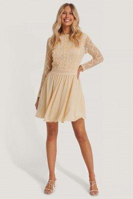 NA-KD Boho Lace Anglaise LS Mini Dress - Offwhite