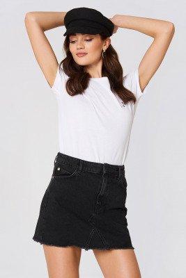 Mango MANGO Frayed Edges Denim Skirt - Black