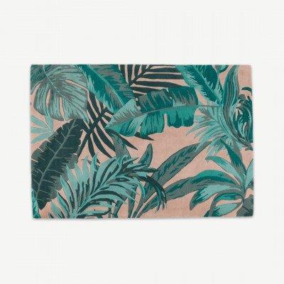 MADE.COM Jangala botanisch wollen vloerkleed, 160 x 230 cm, roze en turkooisblauw