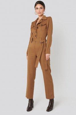NA-KD Trend Front Pocket Tied Waist Jumpsuit - Brown