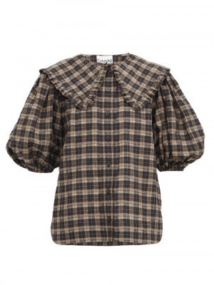 Matchesfashion Ganni - Ruffle-collar Check Cotton-blend Seersucker Blouse - Womens - Black Brown