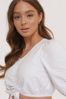 Glamorous Glamorous Cropped Top Met Pofmouwen - White
