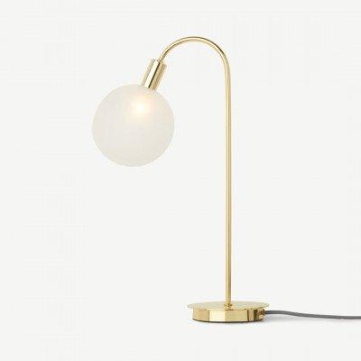 MADE.COM Boll hoge tafellamp, messing en matglas