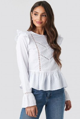 NA-KD Boho Swiss Dot Long Sleeve Ruffle Top - White