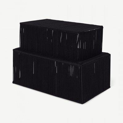 MADE.COM Holgate set van 2 opbergkoffers, zwart touw