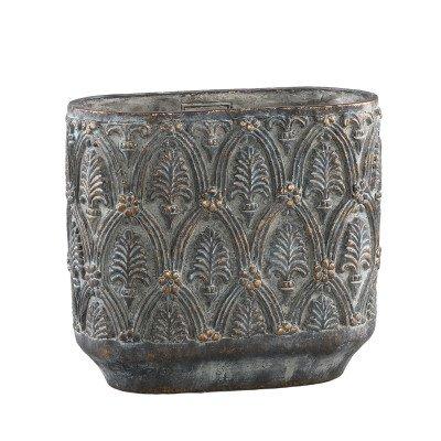 Firawonen.nl Ptmd jennis grijs cement pot antiek patroon ovaal