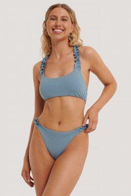 NA-KD Swimwear Hooguitgesneden Bikinibroekje Met Ruchebandjes - Blue