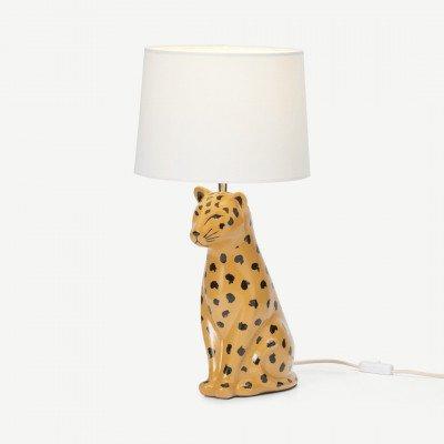 MADE.COM Raja Leopard Ceramic tafellamp, bruin