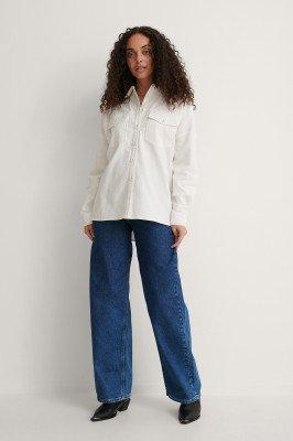 NA-KD NA-KD Oversized Shirt - Offwhite