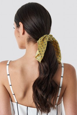 NA-KD Accessories Yellow Patterned Knot Scrunchie - Yellow