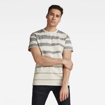 G-Star RAW Pixalated Stripe T-Shirt - Beige - Heren