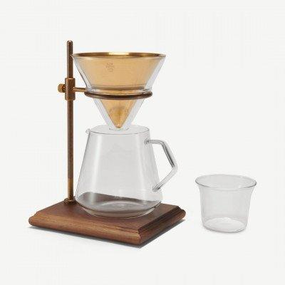 MADE.COM Kinto koffiezetter voor filterkoffie met steun + 4 kopjes, messing met walnoot