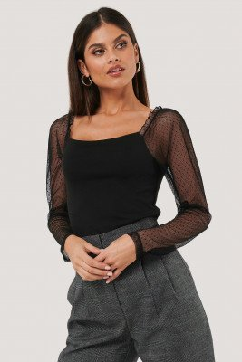 NA-KD Party NA-KD Party Sheer Contrast Sleeve Square Neck Top - Black