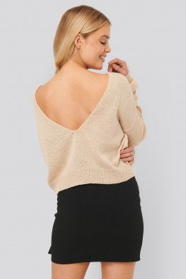 NA-KD NA-KD V-neck Back Cropped Knitted Sweater - Beige