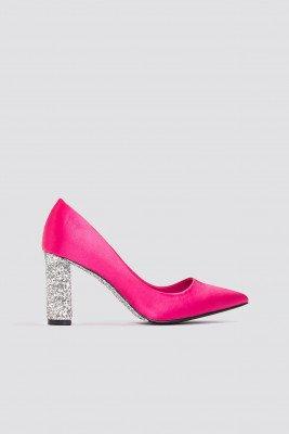 NA-KD Shoes Glitter Heel Satin Pumps - Pink,Multicolor