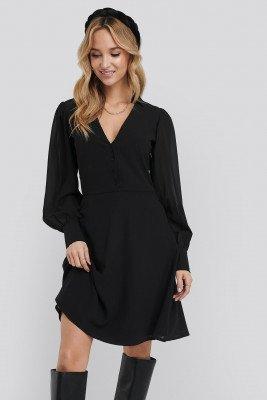 NA-KD NA-KD Chiffon Shirt Mini Dress - Black