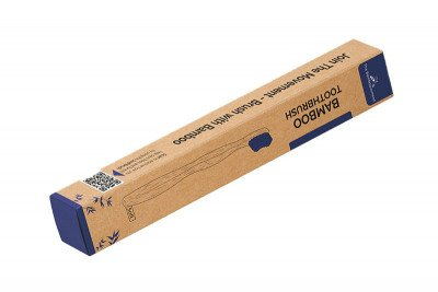 The Bamboovement Bamboe Tandenborstel met Koker - Blauw, Medium