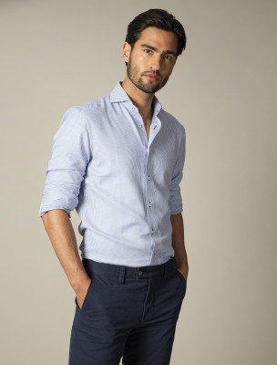 Cavallaro Napoli Cavallaro Napoli Heren Overhemd - Zonti Overhemd - Wit Blauw