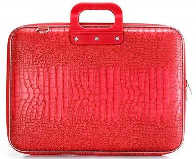 Bombata Bombata Croco Hardcase Laptoptas 17 inch Bright Red