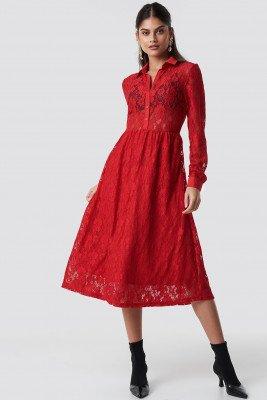 NA-KD NA-KD Long Sleeve Lace Midi Dress - Red