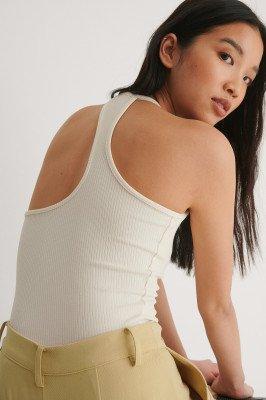 NA-KD Trend NA-KD Trend Geribde Top Met Rugdetail - White