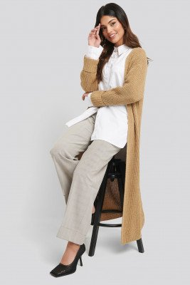 NA-KD Turn Up Cuff Open Front Cardigan - Beige